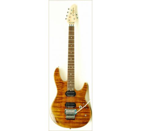 N Zaganin Higher Flow Transparent Amber Flame Guitar